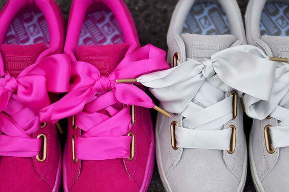 zapatillas puma rosa lazo